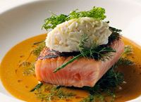 Cider-Cured Sea Trout with Crab Sauce & Sea Vegetables
